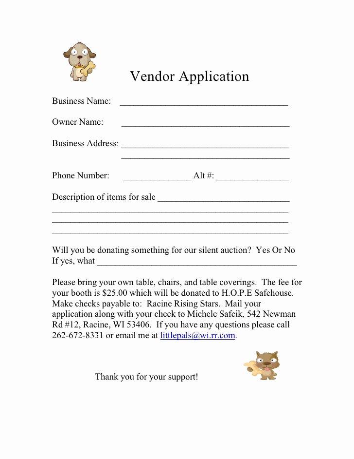 Vendor Registration form Template Lovely form for 2009 Vendor Application