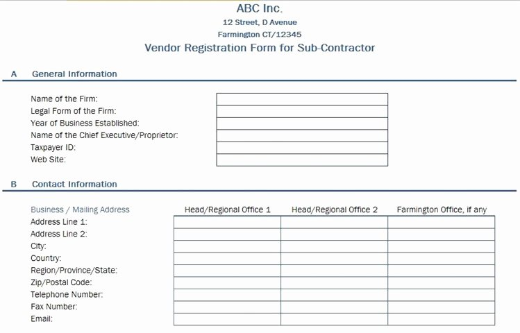 Vendor Registration form Template Luxury Free Data Collection Templates On Excel Vendor