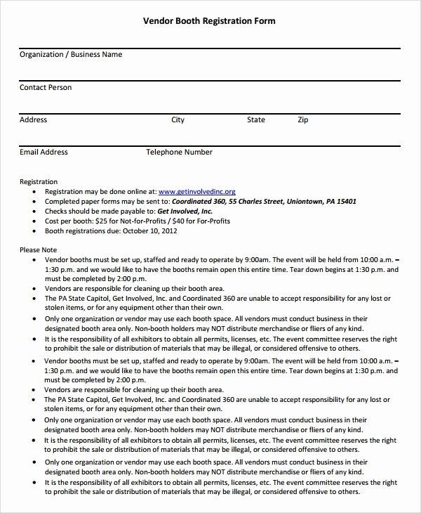 Vendor Registration form Template Luxury Vendor Booth Registration form Template why It is Not the