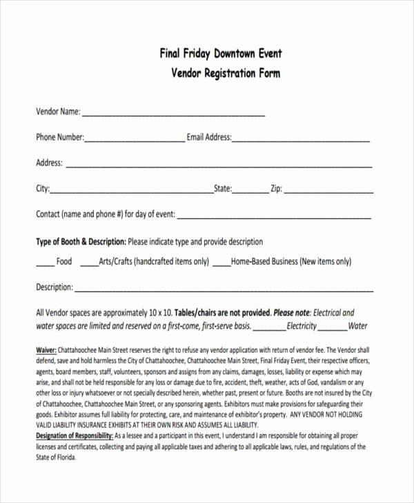 Vendor Registration form Template Unique Free 7 event Registration form Samples In Sample Example