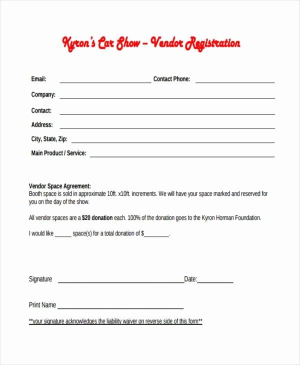 Vendor Registration form Template Unique Free 7 Sample Car Show Registration forms In Pdf
