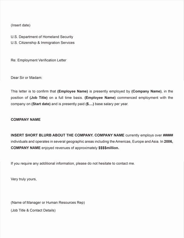 Verification Of Employment Templates Elegant Printable Sample Letter Employment Verification form
