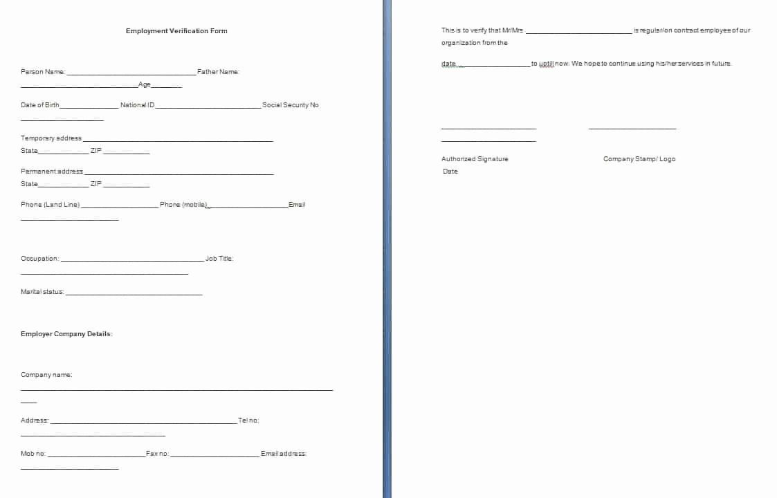 Verification Of Employment Templates Inspirational Employment Verification form Template Free formats Excel