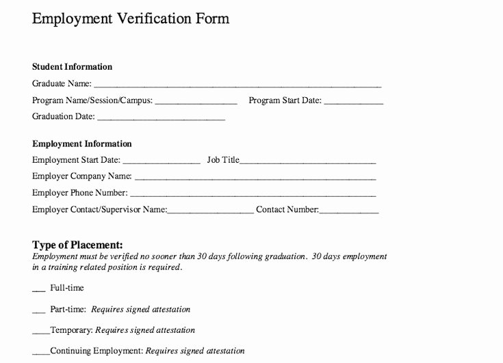 Verification Of Employment Templates Inspirational Employment Verification form Template Word – Microsoft