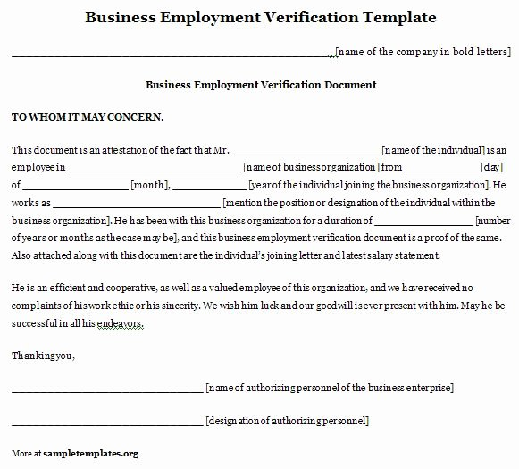 Verification Of Employment Templates Lovely Employment Template for Business Verification format Of