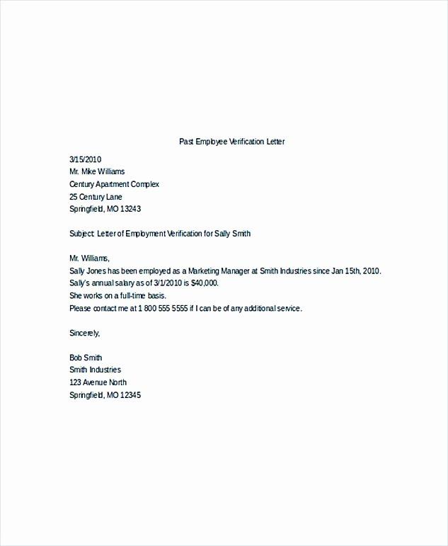 Verification Of Employment Templates Unique Employment Verification Letter What Information to Include