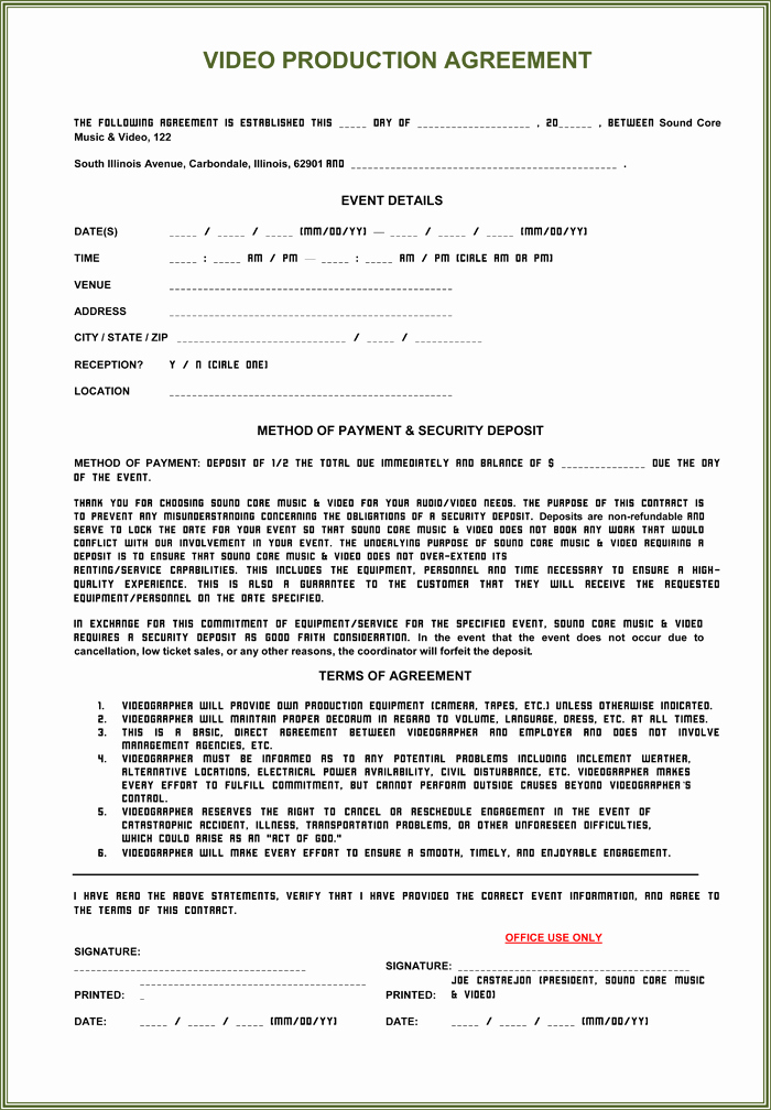 Video Production Contract Template Awesome Video Production Contract 6 Printable Contract Samples
