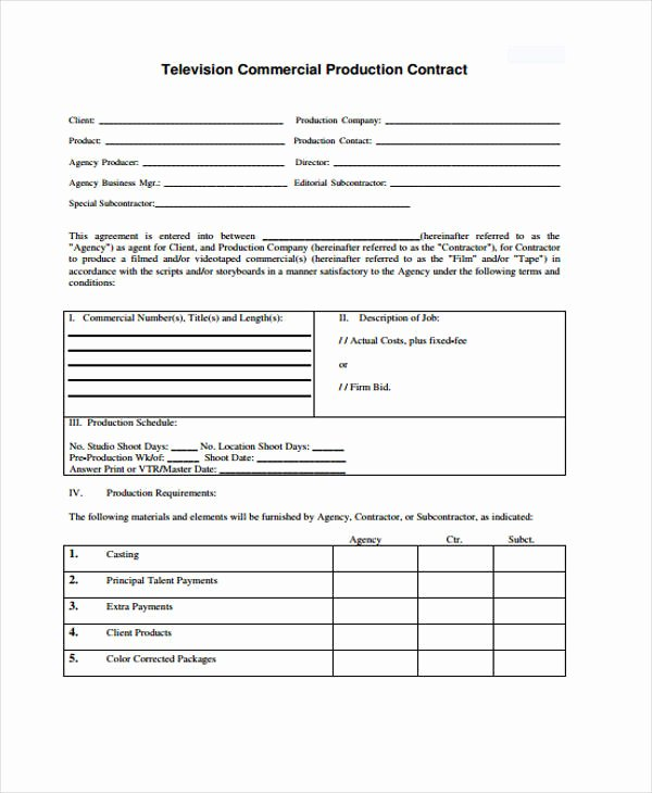 Video Production Contract Template Beautiful 10 Production Contract Templates Sample Example
