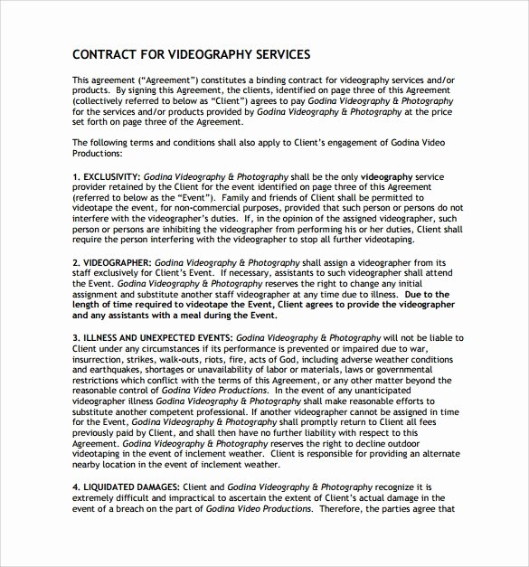 Video Production Contract Template Elegant Videography Contract Template 10 Download Free