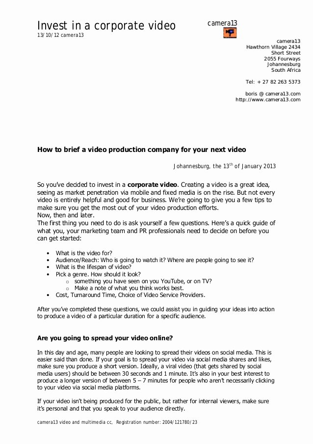 Video Production Contract Template Fresh How to Brief A Video Production Pany
