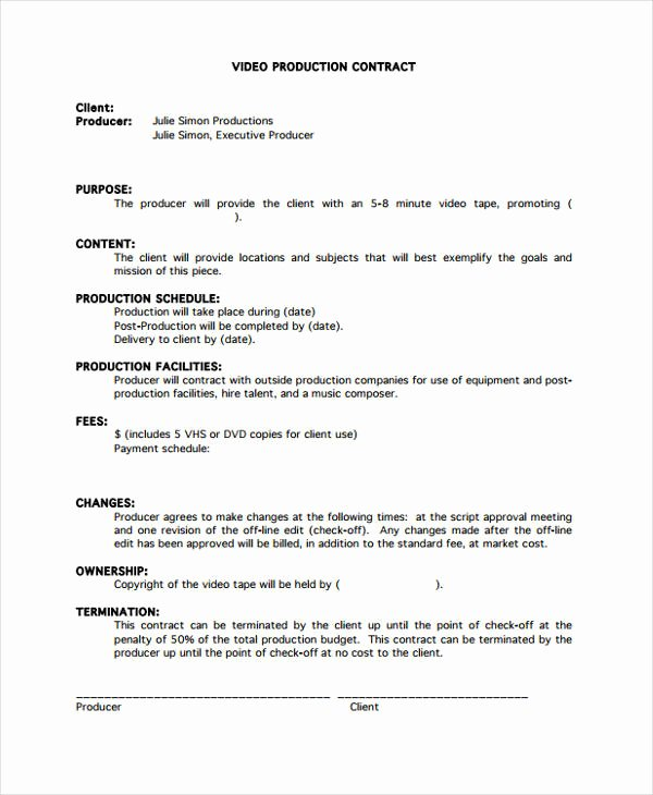 Video Production Contract Template Inspirational Production Contract Template 9 Free Word Pdf format