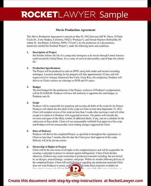 Video Production Contract Template New Video Production Contract Video Movie Production