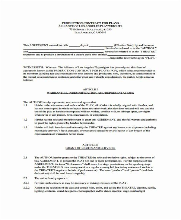 Video Production Contract Template Unique Production Contract Template 9 Free Word Pdf format