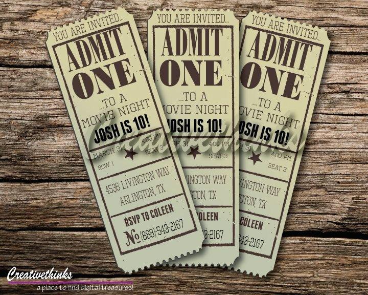 Vintage Movie Ticket Template Beautiful Editable Vintage Movie Ticket Invitation Digital File