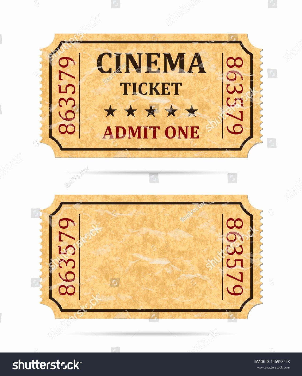 Vintage Movie Ticket Template Beautiful Retro Cinema Ticket Empty Ticket Stock Vector