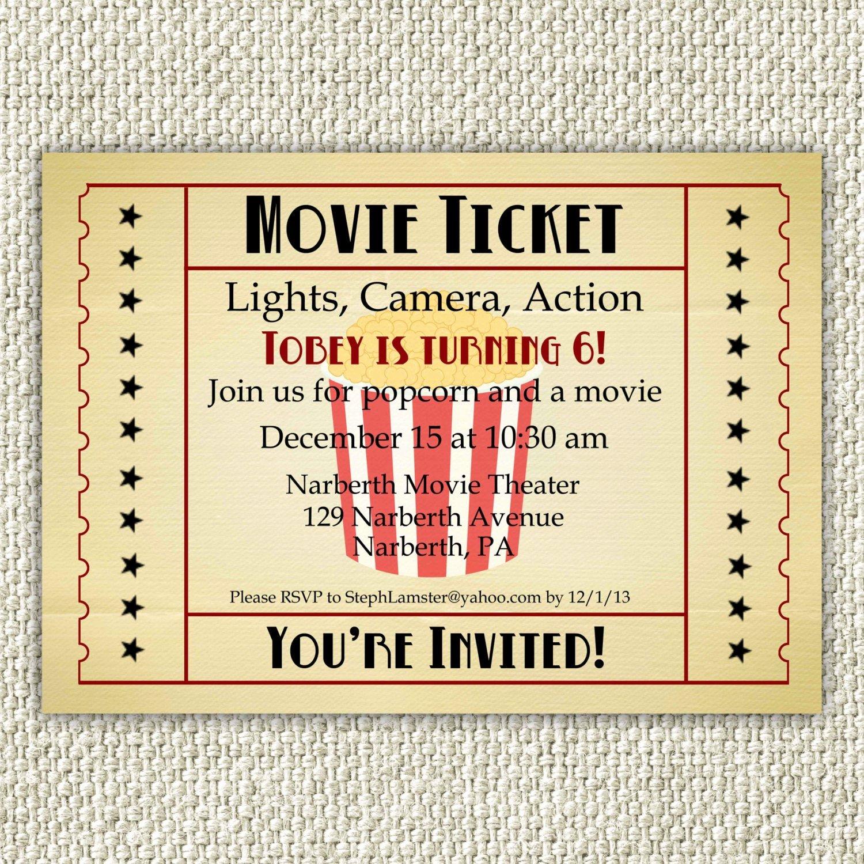 Vintage Movie Ticket Template Beautiful Vintage Movie Birthday Invitation Movie Party Invitation