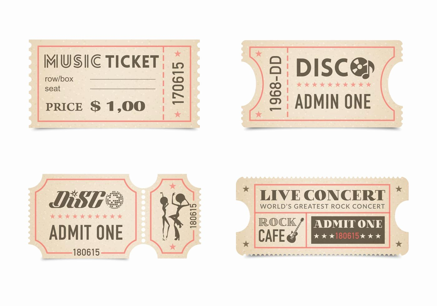 Vintage Movie Ticket Template Best Of Retro Concert Ticket Stub Vector Set Download Free
