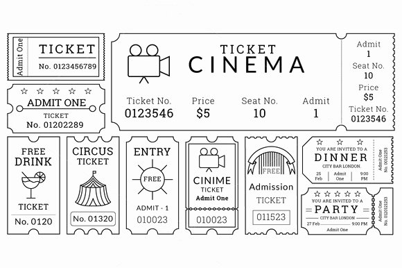 Vintage Movie Ticket Template Fresh Ticket Templates Pack Illustrations On Creative Market