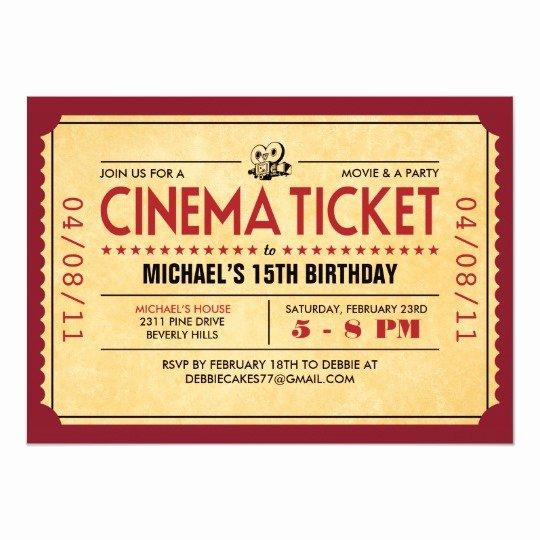 Vintage Movie Ticket Template Inspirational Retro Movie Ticket Invitations