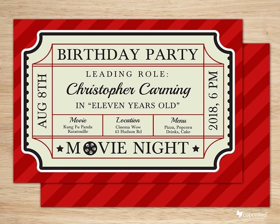 Vintage Movie Ticket Template Lovely Classic Movie Ticket Birthday Party Invitation Birthday