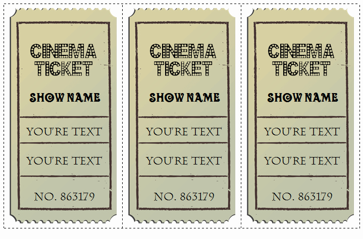 Vintage Movie Ticket Template Luxury 6 Movie Ticket Templates to Design Customized Tickets