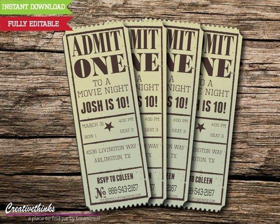 Vintage Movie Ticket Template Luxury Editable Vintage Movie Ticket Invitation Digital File