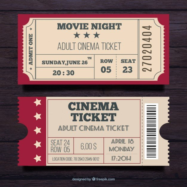 Vintage Movie Ticket Template New Admit E Ticket Vectors S and Psd Files