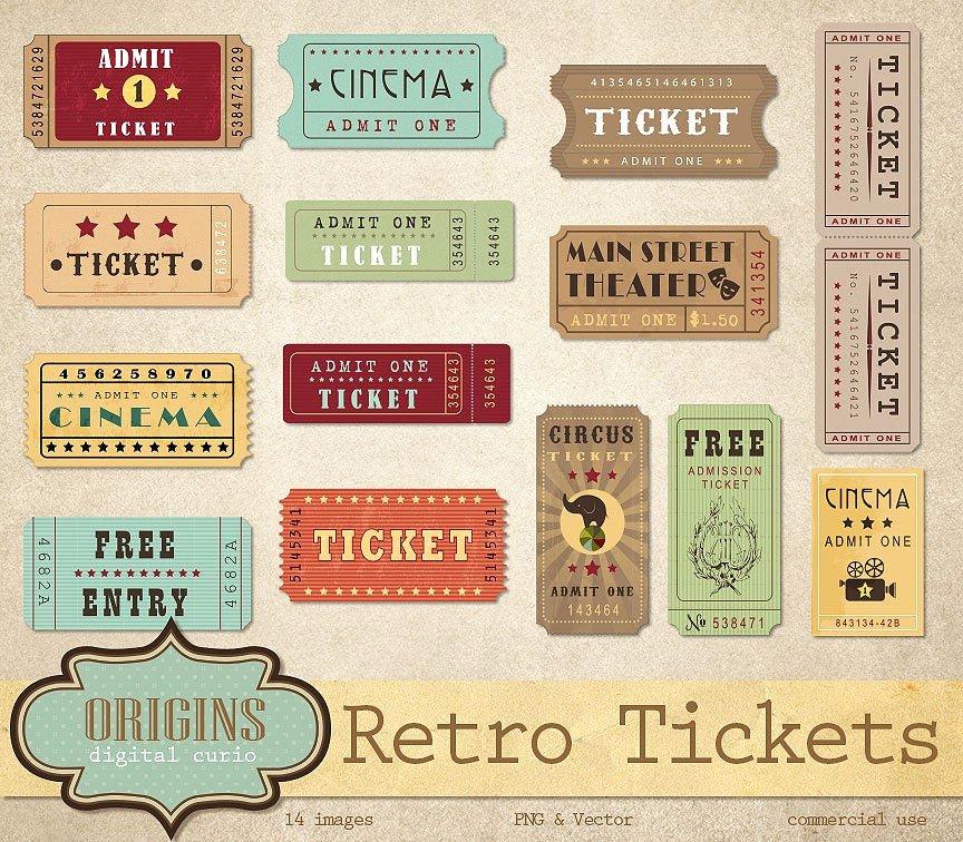 Vintage Movie Ticket Template Unique Retro Tickets Clipart Vintage Show Circus Cinema theatre