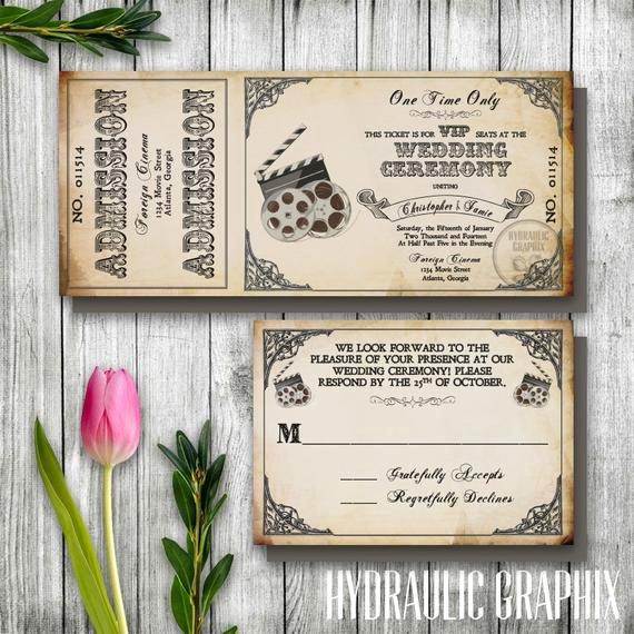 Vintage Movie Ticket Template Unique Vintage Wedding Ticket Invitation Printable Ticket