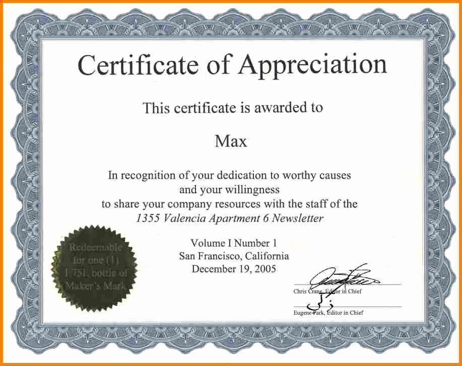 Volunteer Appreciation Certificate Template Elegant Certificate Appreciation Wording