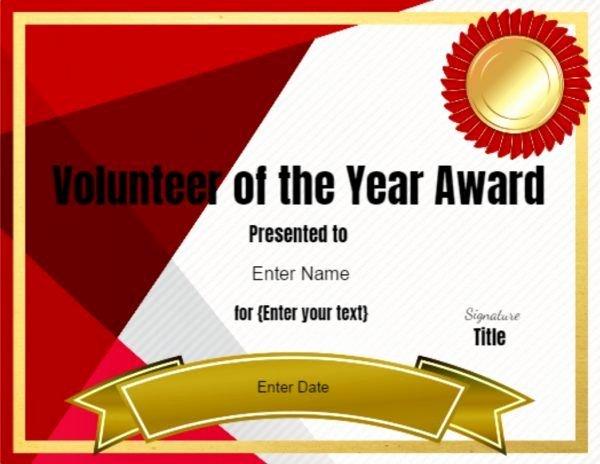 Volunteer Appreciation Certificate Template Elegant Volunteer Of the Year Certificate Template