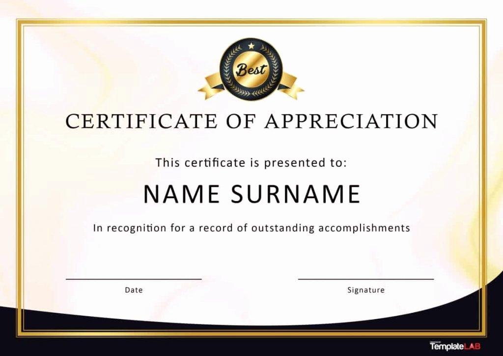 Volunteer Appreciation Certificate Template Fresh 33 Certificate Of Appreciation Template Download now