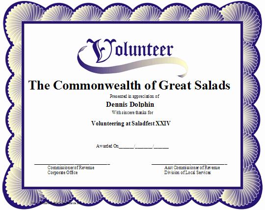 Volunteer Appreciation Certificate Template Inspirational A Printable Volunteer Certificate with A Blue Scalloped
