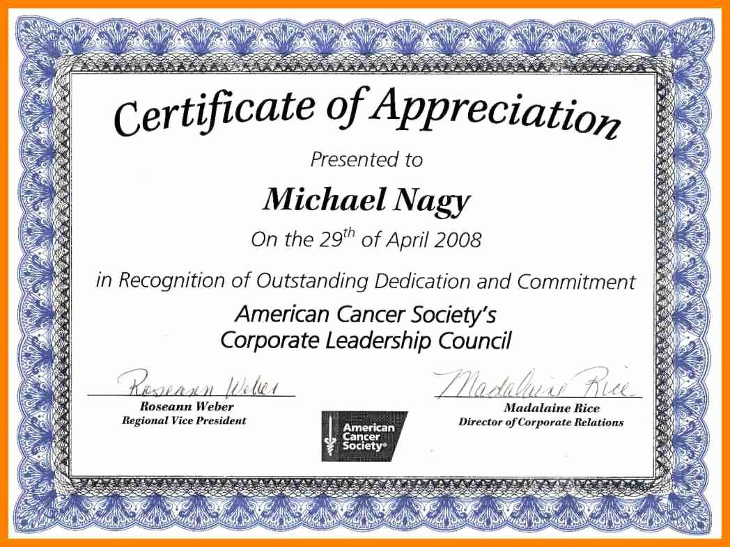 Volunteer Appreciation Certificate Template Inspirational Certificate Appreciation Wording