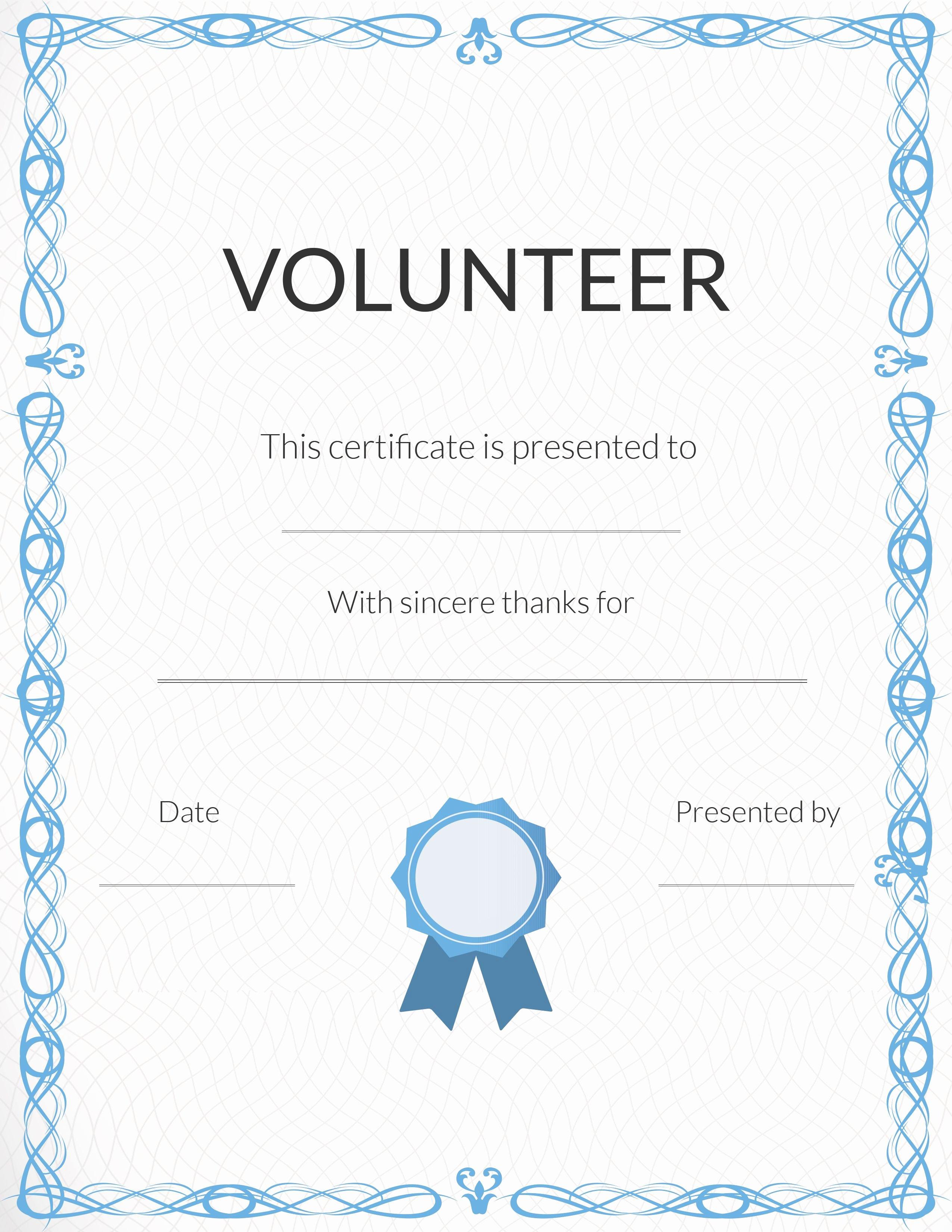 Volunteer Appreciation Certificate Template Inspirational Free Volunteer Appreciation Certificates — Signup