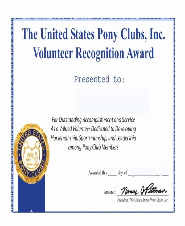 Volunteer Appreciation Certificate Template Luxury Free 47 Award Certificate Examples and Samples In Word