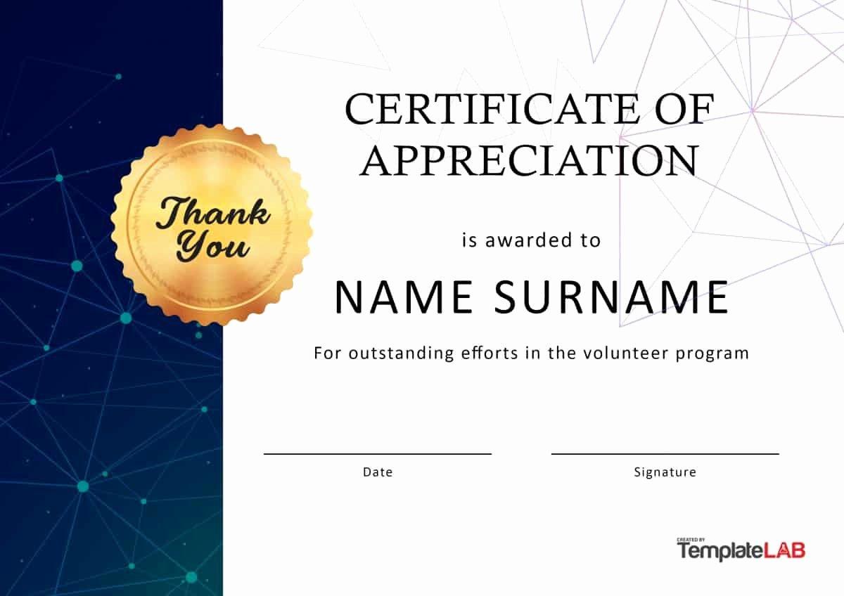 Volunteer Appreciation Certificate Template New 30 Free Certificate Of Appreciation Templates and Letters
