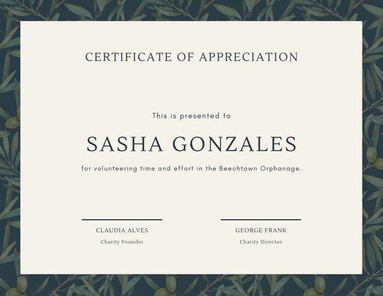 Volunteer Appreciation Certificate Template New Customize 63 Appreciation Certificate Templates Online