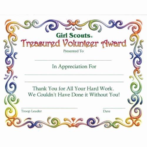 Volunteer Appreciation Certificate Template New Girl Scout Investiture Certificate Juniors