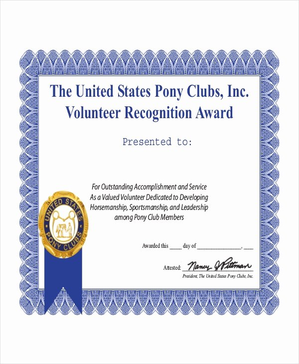 Volunteer Appreciation Certificate Template New Volunteer Certificate Template 9 Word Pdf Psd Ai
