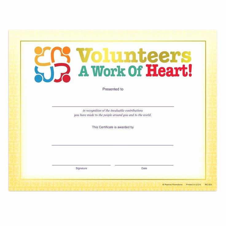 Volunteer Appreciation Certificate Template New Volunteers A Work Heart Gold Foil Stamped Recognition