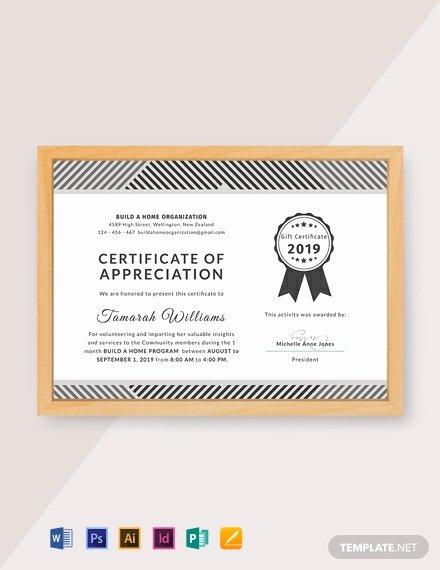Volunteer Appreciation Certificate Template Unique 32 Free Appreciation Certificate Templates In Adobe