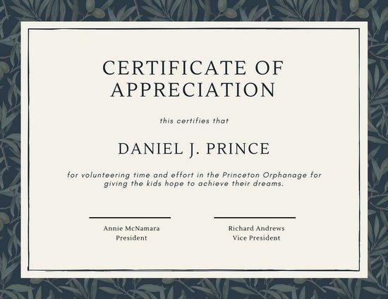 Volunteer Appreciation Certificate Template Unique Green Olive Tree Leaves Volunteer Appreciation Certificate