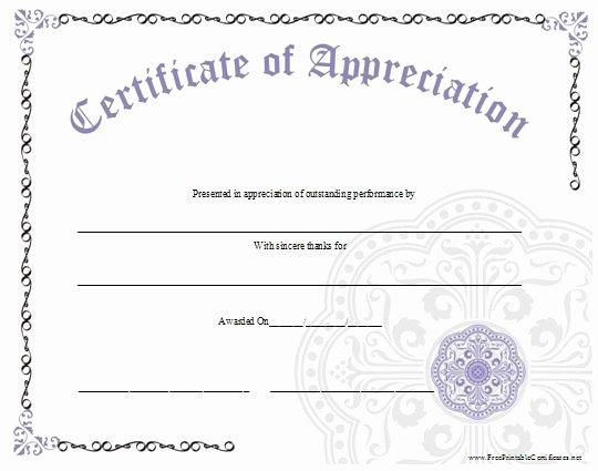 Volunteer Appreciation Certificate Templates Beautiful An ornate Certificate Of Appreciation with A Large
