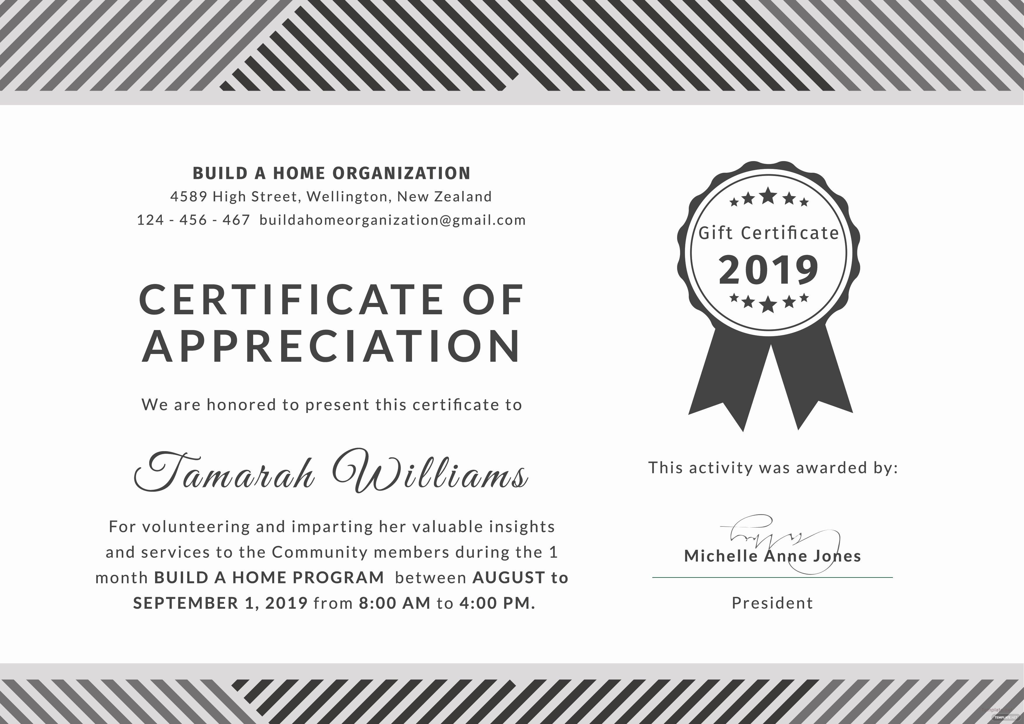 Volunteer Appreciation Certificate Templates Best Of Free Volunteer Certificate Of Appreciation Template In