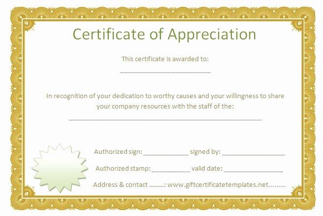 Volunteer Appreciation Certificate Templates Best Of Golden Border Certificate Of Appreciation Free
