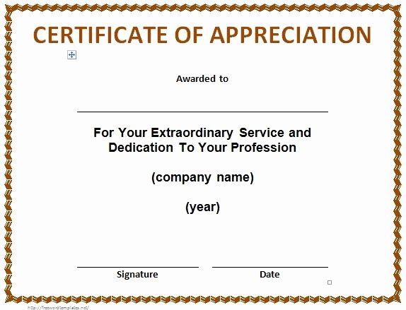 Volunteer Appreciation Certificate Templates Elegant 30 Free Certificate Of Appreciation Templates and Letters