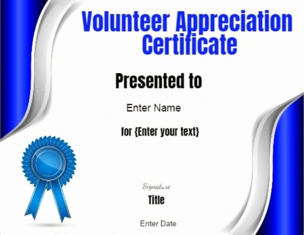 Volunteer Appreciation Certificate Templates Fresh Volunteer Certificate Of Appreciation