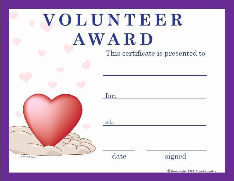Volunteer Appreciation Certificate Templates Lovely Free Volunteer Certificates Exclusively From Trophycentral