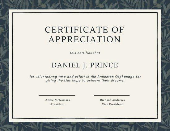 Volunteer Appreciation Certificate Templates Lovely Green Olive Tree Leaves Volunteer Appreciation Certificate